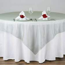 """5 Pack 72""""x72"""" Sheer Organza Overlay Wedding Party Banquet 20+ Colors!"""