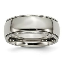 Chisel 8mm Polished Titanium Grooved And Beaded Edge Band Size 8 to 14