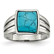 Chisel Stainless Steel Square Imitation Turquoise Ring Size 6 to 9