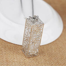 Necklace  Hollow clover Crystal  Long chain New Pendant  Statement  Square