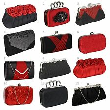 Ladies Stunning Red/Black Clutch Evening Bags Wedding Prom Party New