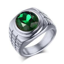 18K Gold Plated Titanium Ring Men Red Black Green Crystal Ruby Stainless Steel W