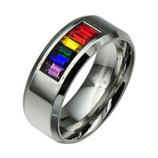 RAINBOW Gay Lesbian PRIDE Couples Wedding Stainless Steel Band Ring Size 7-10