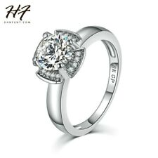18K White Gold Plated CZ Diamond Fashion Wedding Engagement Ring Jewelry Women