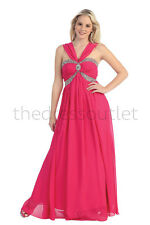 Long Prom Dresses Halter Straps Chiffon Empire Waist Bridesmaids Formal Gown