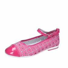 AG486 DIDI BLU  shoes fuchsia suede leather patent leather girl ballet flats EU