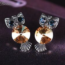 18k gold plated/platinum plated owl fashion women Drop crystal Earrings