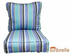 In/Out Sunbrella Dolce Oasis Blue Stripe Deep Seating Chair Cushion 2 Pc Set