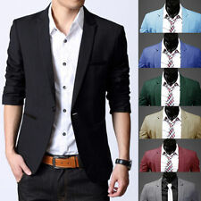Fashion Men's Slim Suit Blazers Coat Jacket Fit Stylish Formal Casual One Button