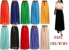 NEW WOMENS ELASTIC WAIST BAND PLEATED CHIFFON LONG MAXI SKIRT UNDERSKIRT lng