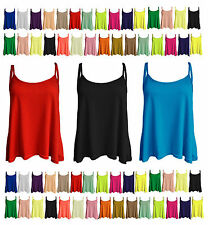 New Womens Cami Sleeveless Swing Vest Top Strappy Plain Flared Plus Size Cmism