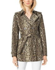 NWT $275 MICHAEL KORS Python Print Belted Trench Coat Jacket Duffle S M PXS