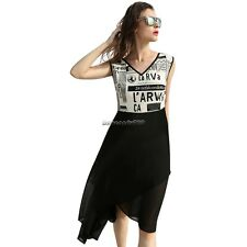 Women Fashion Stylish V-neck Sleeveless Patchwork Asymmetric Hem Summer NC89