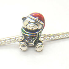 Authentic S925 Silver TEDDY BEAR SILVER CHARM WITH RED AND GREEN ENAMEL BEAD