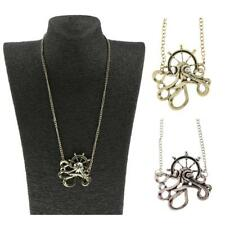 Retro Crystal Octopus Anchor Pendant Necklace Steampunk Gothic Jewelry Gift