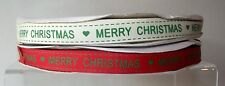 "Merry Christmas Saddlestitch Ribbon 16mm 5/8"" wide 1 2  5 10 metre Red Cream"