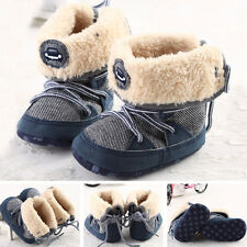 Winter Warm Baby Boy's Snow Boots Lace Up Soft Sole Shoes Infant Toddler Kid