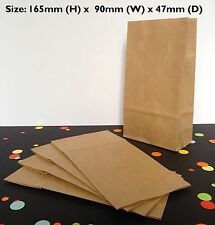 Bulk Small Kraft Brown Paper Flat Bottom Bags Lolly Gift Wedding Party Favours