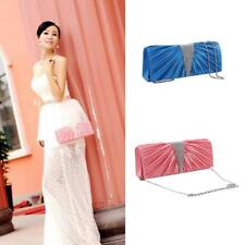 Women's Elegant Pleated Satin Clutch Evening Handbag Purse with Chain