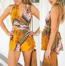 Sexy Women V-neck Halter Backless Party Jumpsuit Playsuit Romper Dress Pants