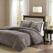 Warm Down Alt Grey Ivory Sheared Faux Mink Chevron Comforter Cal King Queen  3pc