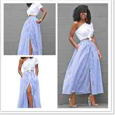 Women's Vintage Blue White Stripes Button Front Slit Long Waist Maxi Skirt Dress