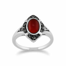 Gemondo 925 Sterling Silver 1.00ct Carnelian & Marcasite Art Deco Ring