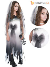 Ladies Corpse Bride Costume Adults Graveyard Halloween Fancy Dress Womens Outfit