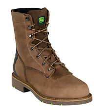John Deere Mens Tan Leather 8in WCT Steel Toe Lace-Up Work Boots