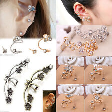Elegant Crystal Pearl Rhinestone Ear Clip Ear Stud Earring Jewelry For Girl Gift