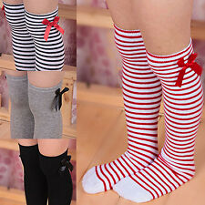 Girls Long Knee Socks Children Baby Toddler Bowknot Striped Leg Warmers Perfect