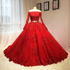 Luxury Princess Ball Gowns Red Quinceanera Dress Wedding Gowns Prom Pageant Gown