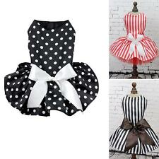 Small Pet Dog Princess Polka Dot Dress Clothes Cozy Shirt Party Dress XS-XL