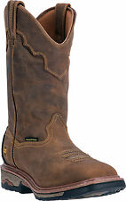 Dan Post Mens Tan Collared Stockman Saddle Leather Cowboy Boots