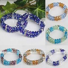 Crystal Glass Faceted Abacus Bead Bracelet Bangle Women Girl Fashion Gift Chic