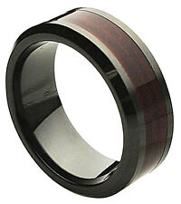 Ceramic Ring Men Wedding Band Beveled Edge Burgundy Wood Laminate Inlay 8mm