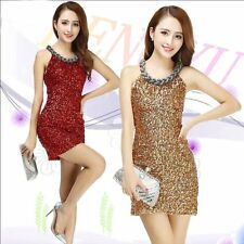 Womens Trendy Bodycon Sequin Clubwear Mini Skirt Evening Cocktail Party Dress