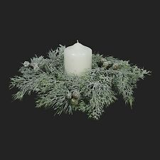 Snow Frosted Pine Christmas Candle Ring 30cm Diameter- Winter Centrepiece Pillar