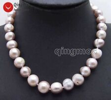 """SALE Big 10-13mm Purple Round gradual Natural freshwater PEARL 17"""" Necklace-6064"""
