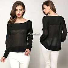 Sexy Womens Long Sleeve Off Shoulder Asymmetric T-Shirt Blouse Shirt Tops BF9
