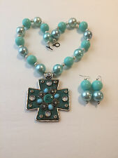 Chunky Bubblegum Bead Turquoise and Silver tone Western Necklace Set w/ cross