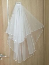 white / ivory 2-layer new elbow length beaded edge wedding bridal veil+comb