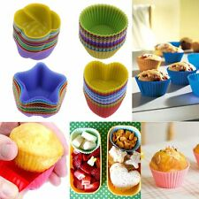 12Pcs Silicone Cake Chocolate Muffin Cupcake Liner Baking Cup Mould Tool