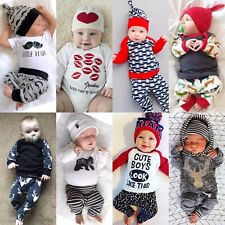 Newborn Toddler Kids Baby Boys Outfits Clothes T-shirts Tops+Pants 2PCS Sets