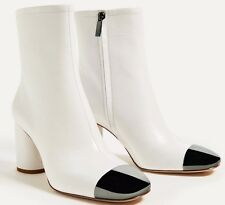 ZARA 2017 HIGH HEEL LEATHER ANKLE BOOTS  METALLIC TOE WHITE 35-41 REF. 5117/101