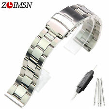 18 20 22mm Mens Watch Strap Stainless Steel WatchBand Bracelets Straight End
