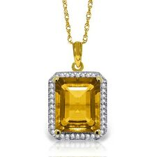 Natural Genuine Citrine Emerald Cut Gem Diamonds Pendant Necklace 14K Solid Gold