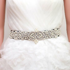 Bridal Wedding Ivory Pearl Rhinestone Applique Evening Dress Gown Sash Belt