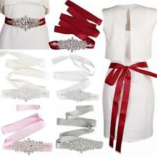 Bridal Wedding Dress Belt Sash Crystal Sparkle Long Ribbon Tie Beaded Sash Belt