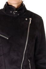 MICHAEL KORS New woman Black Faux Leather and fur Biker Jacket NWT
